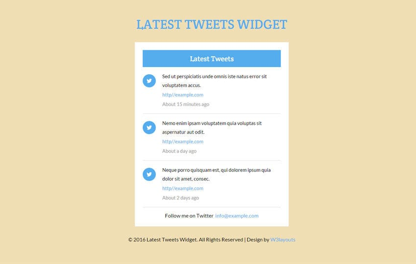 Latest Tweets Widget Responsive Template Mobile website template Free