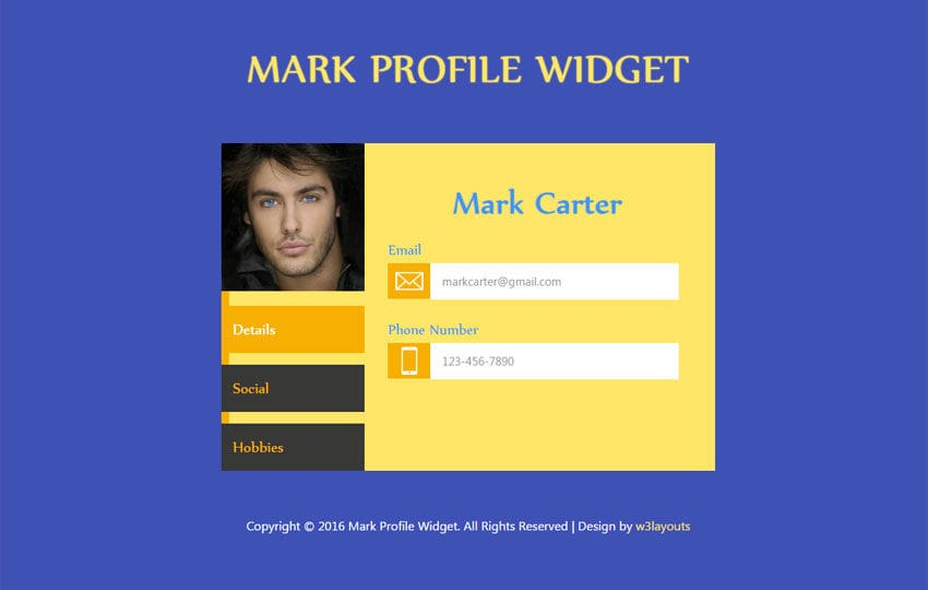 Mark Profile Widget Responsive Template Mobile website template Free