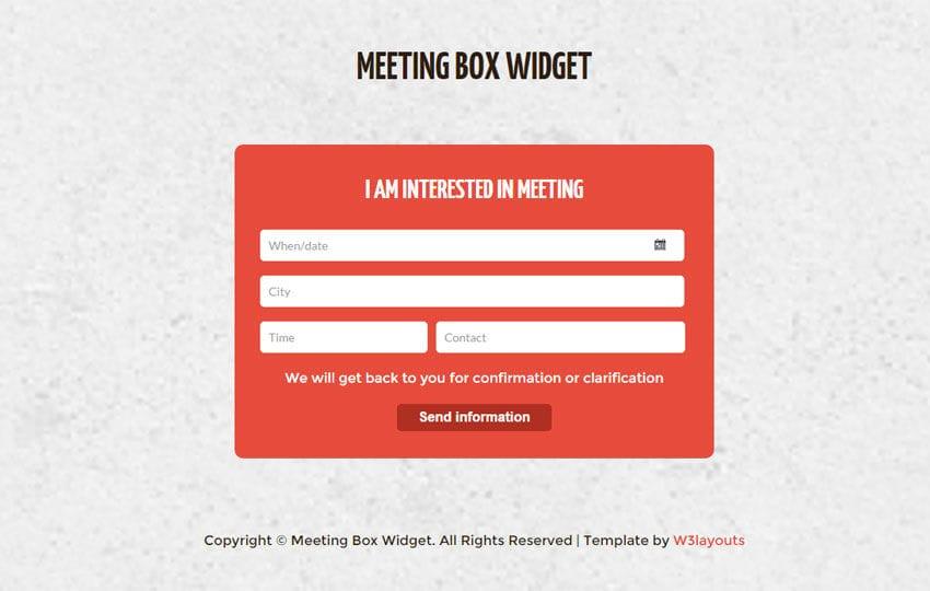 Meeting Box Form Responsive Widget Template