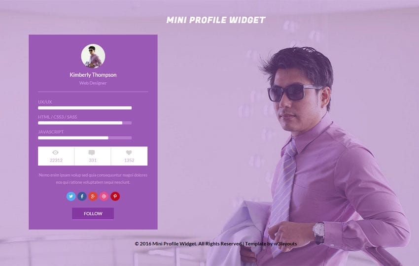 Mini Profile Widget Responsive Template