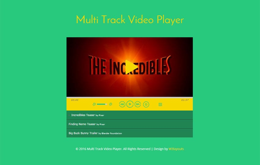 Multi Track Video Player Responsive Widget Template
