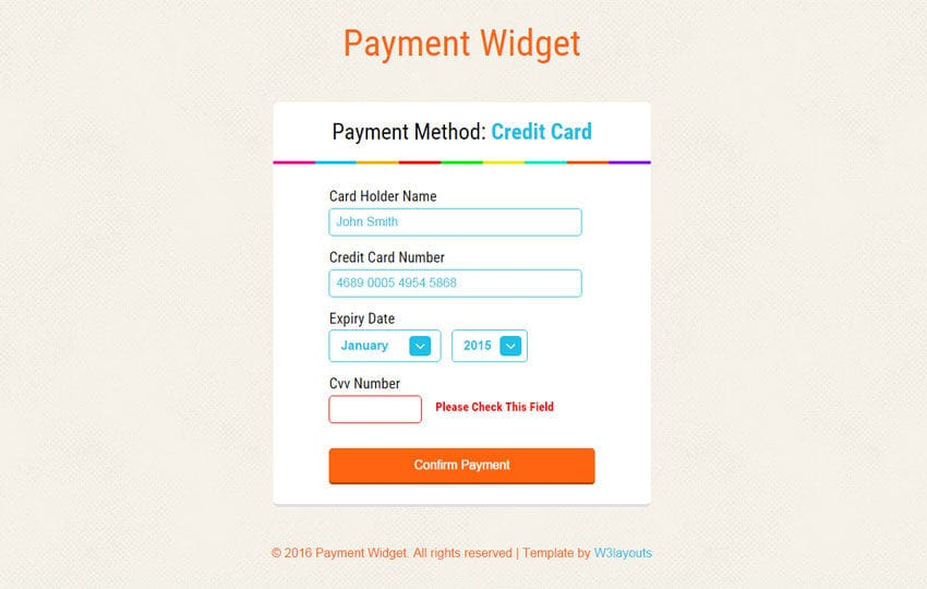 Payment Widget Form Responsive Template