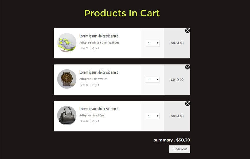 Products In Cart Responsive Widget Template Mobile website template Free