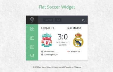 Flat Soccer scoreboard Responsive Widget Template