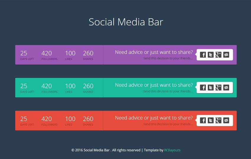 Social Media Bar Responsive Widget Template Mobile website template Free