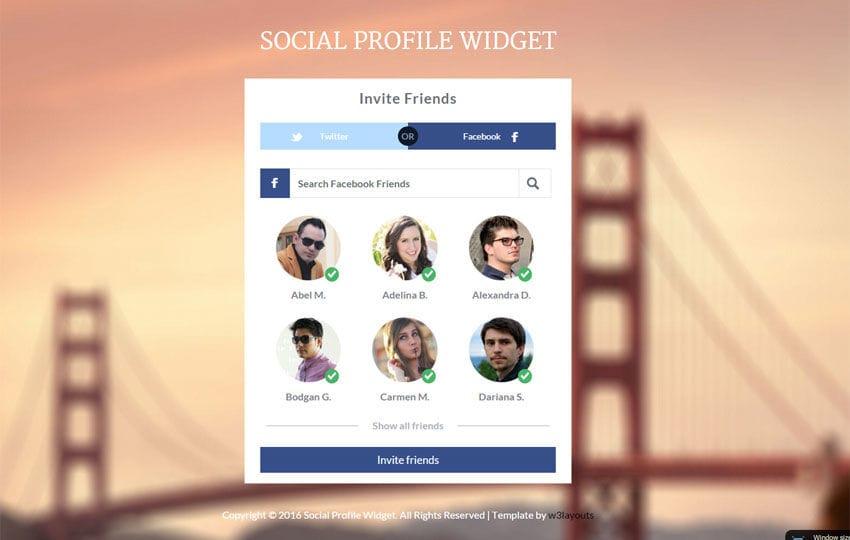 Social Profile Widget Responsive Template