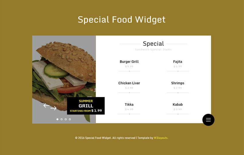 Special Food Responsive Widget Template Mobile website template Free