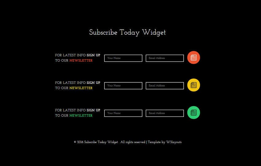Subscribe Today Responsive Widget Template