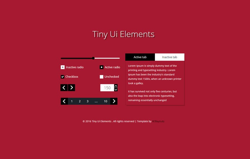 Tiny UI Elements Responsive Widget Template Mobile website template Free
