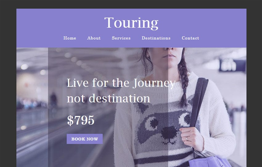 Touring a Newsletter Responsive Web Template Mobile website template Free