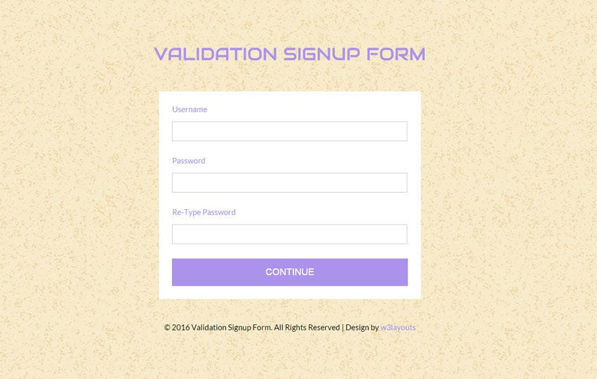 Validation Signup Form Responsive Widget Template Mobile website template Free
