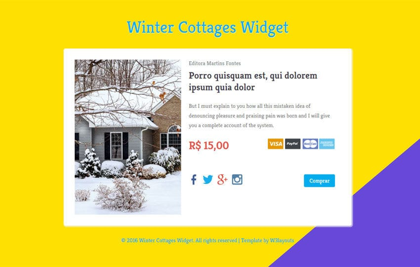 Winter Cottages Widget Responsive Template Mobile website template Free