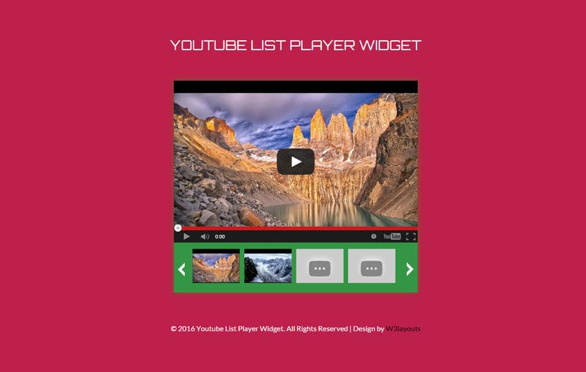Youtube List Player Responsive Widget Template Mobile website template Free