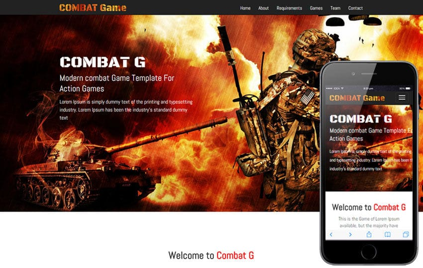 Combat Game a Games Category Responsive Web Template Mobile website template Free
