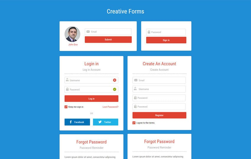 Creative Forms  Responsive Widget Template Mobile website template Free