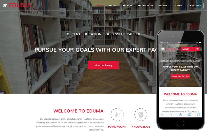 Eduma a Video Background Education Bootstrap Responsive Web Template Mobile website template Free