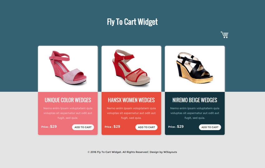 Fly To Cart Widget Flat Responsive Widget Template
