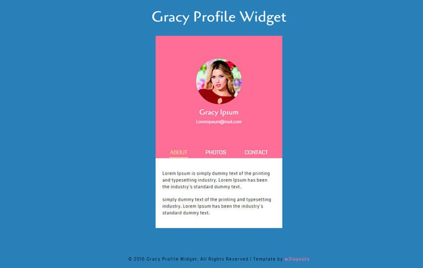 Gracy Profile Responsive Widget Template Mobile website template Free