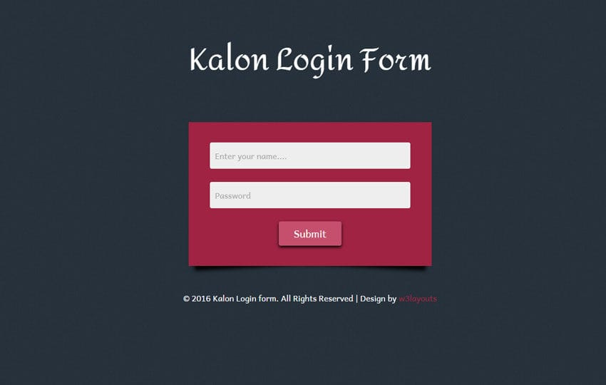 Kalon Login Form Responsive Widget Template