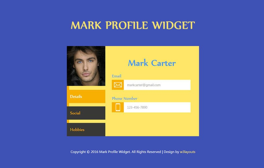 Mark Profile Responsive Widget Template