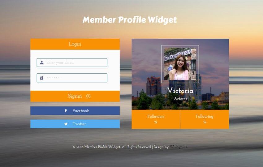Member Profile Flat Responsive Widget Template