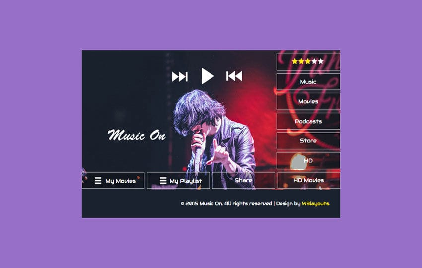 Music On Flat Responsive Widget Template