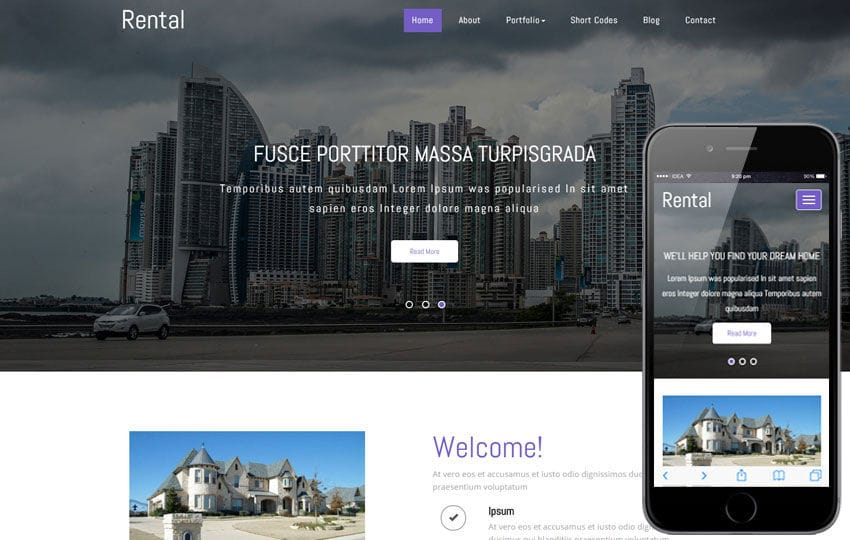 Rental a Real Estate Category Responsive Web Template Mobile website template Free