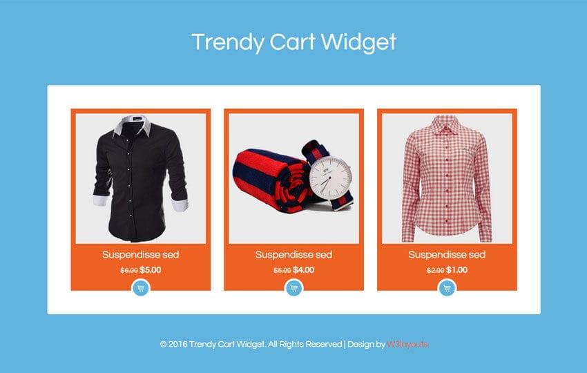 Trendy Cart Widget Flat Responsive Widget Template