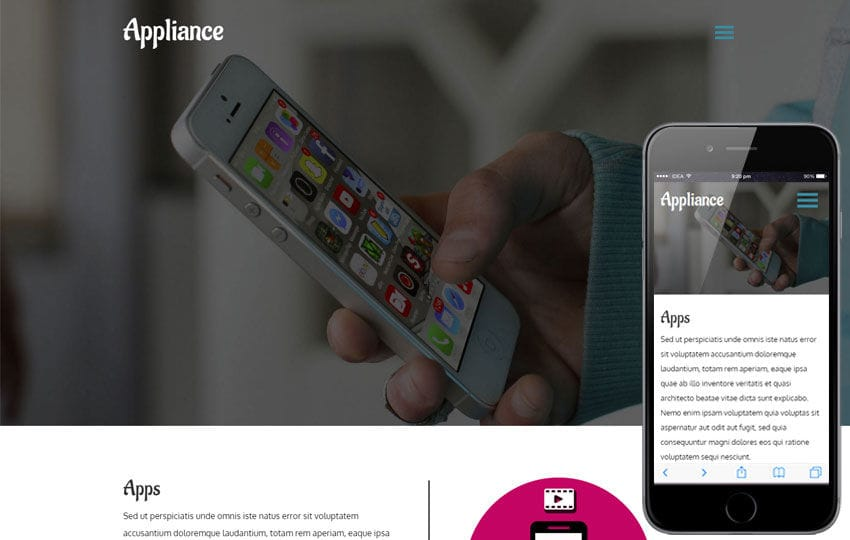 Appliance a Mobile Apps Category Flat Responsive  Web Template Mobile website template Free