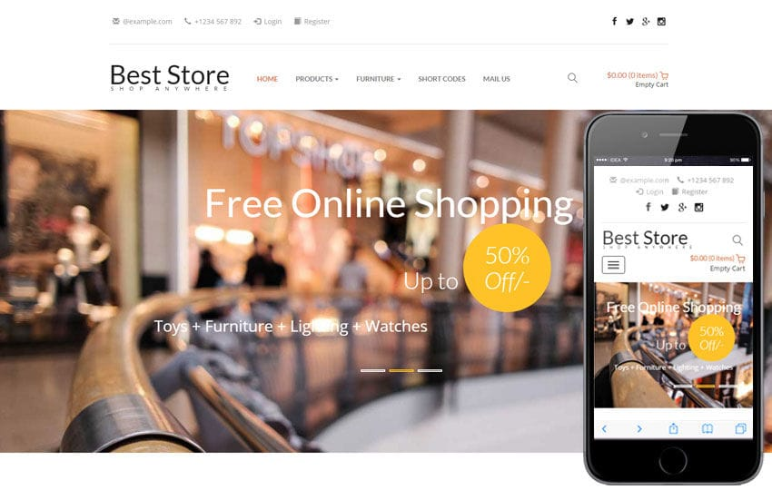 Best Store a E commerce Category Responsive Web Template Mobile website template Free
