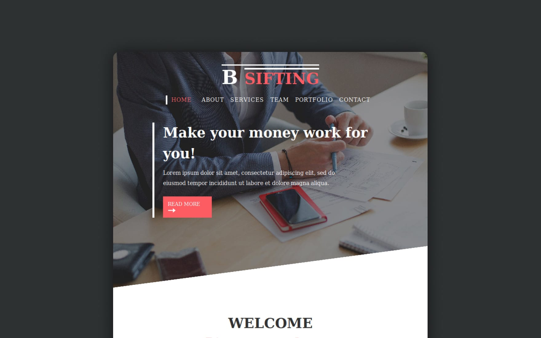 Bsifting a Newsletter Responsive Web Template