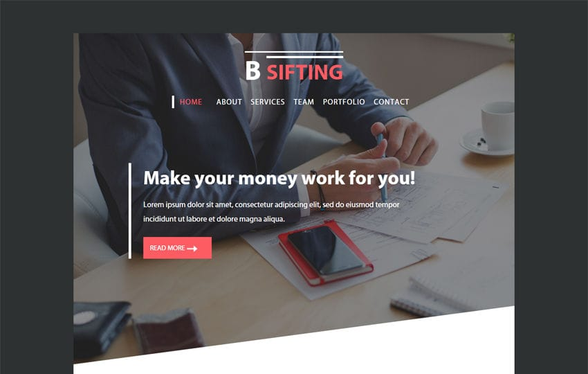 Bsifting a Newsletter Responsive Web Template Mobile website template Free