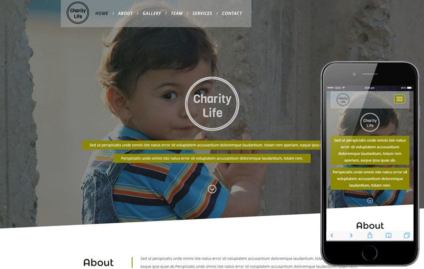 Charity Life a Social and People Responsive Web Template Mobile website template Free
