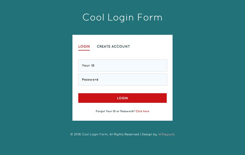 Cool Login Form Responsive Widget Template