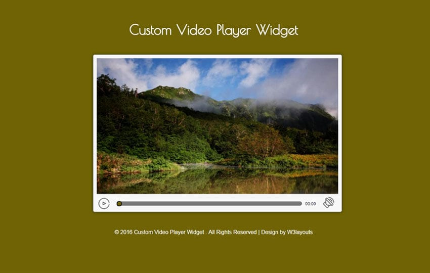 Custom Video Player Widget Flat Responsive Widget Template