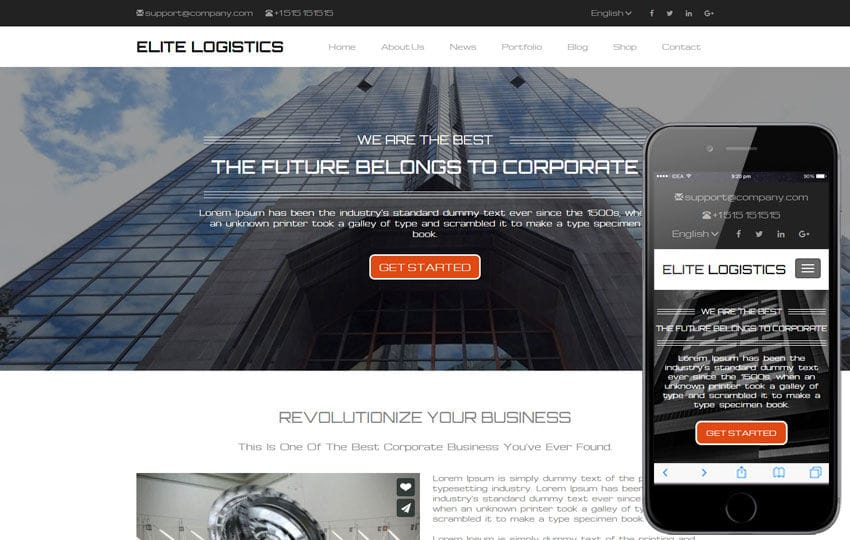 Elite Logistics a Corporate Category Responsive Web Template