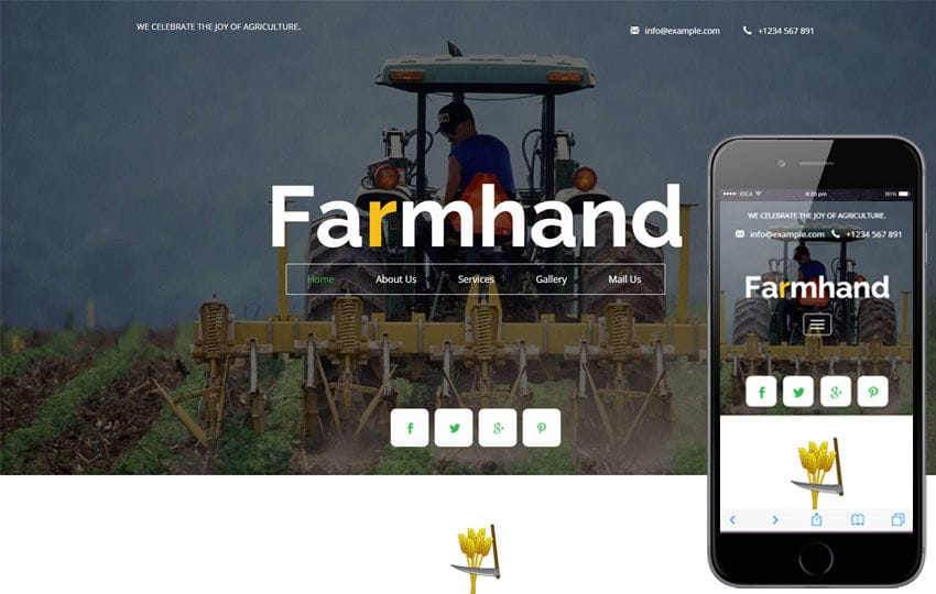 Farm hand a Agriculture Flat Bootstrap Responsive Web Template Mobile website template Free
