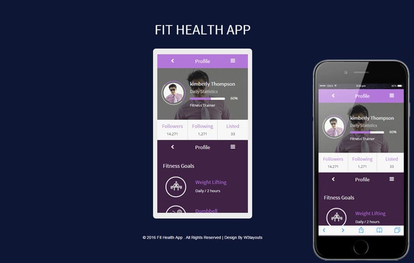Fit Health App A Mobile App Responsive Web Template Mobile website template Free
