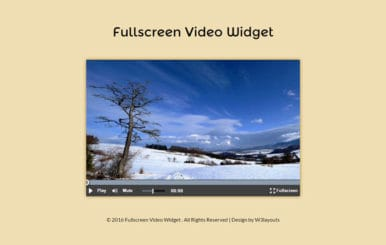 Fullscreen Video Widget Flat Responsive Widget Template