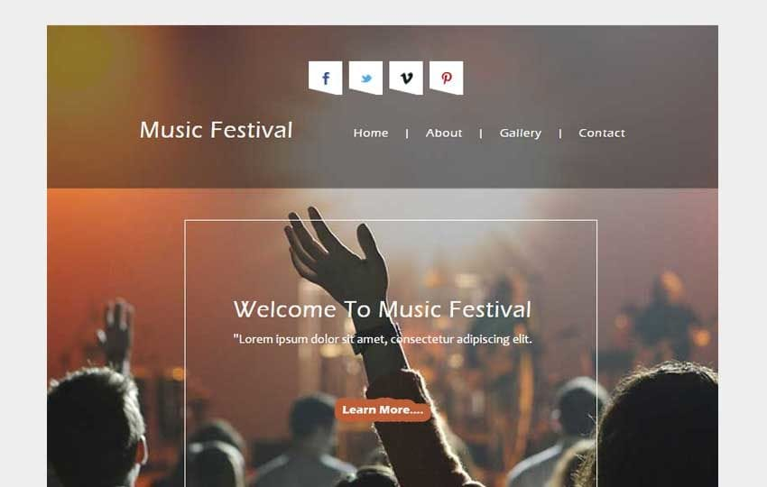 Music Festival a News Letter Responsive Web Template Mobile website template Free