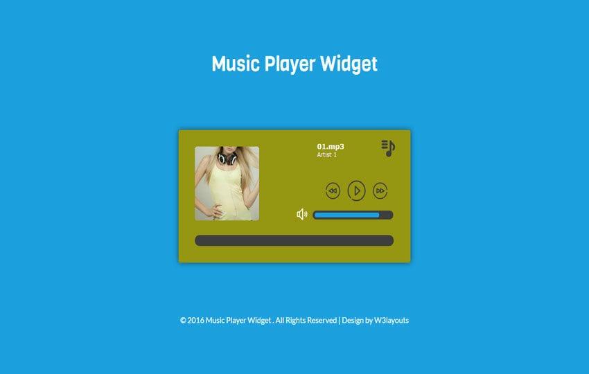 Music Player Widget Flat Responsive Widget Template Mobile website template Free