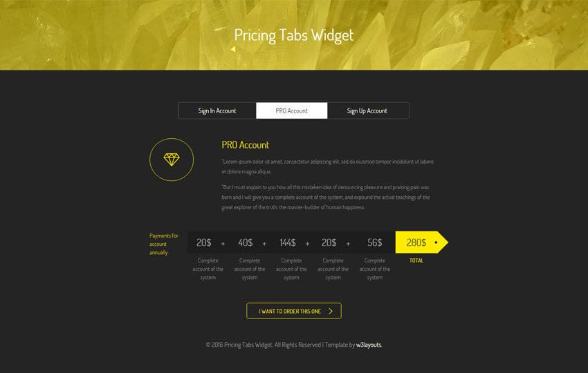 Pricing Tabs Widget Flat Responsive Widget Template Mobile website template Free