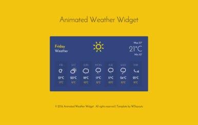 Animated Weather Widget Responsive Widget Template