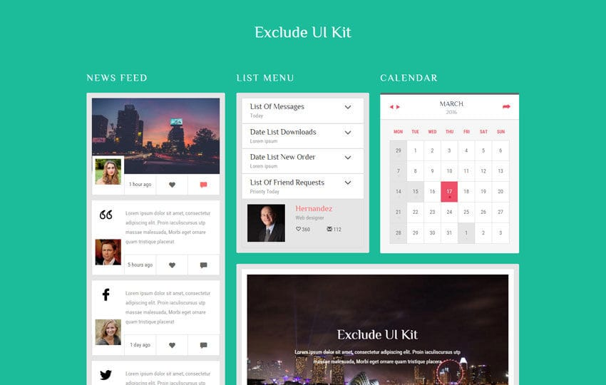 Exclude UI Kit a Flat Bootstrap Responsive Web Template Mobile website template Free