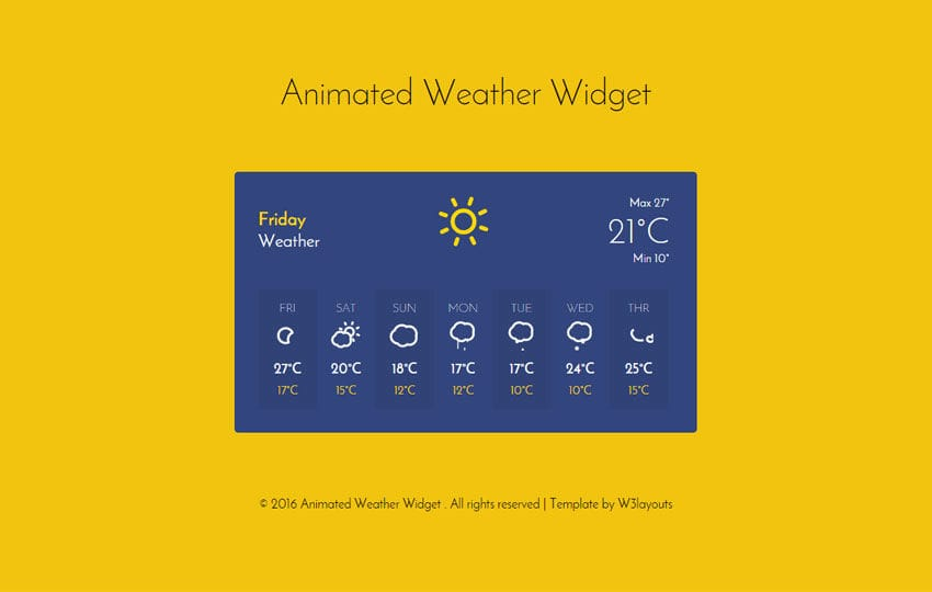 Animated Weather Widget Responsive Widget Template