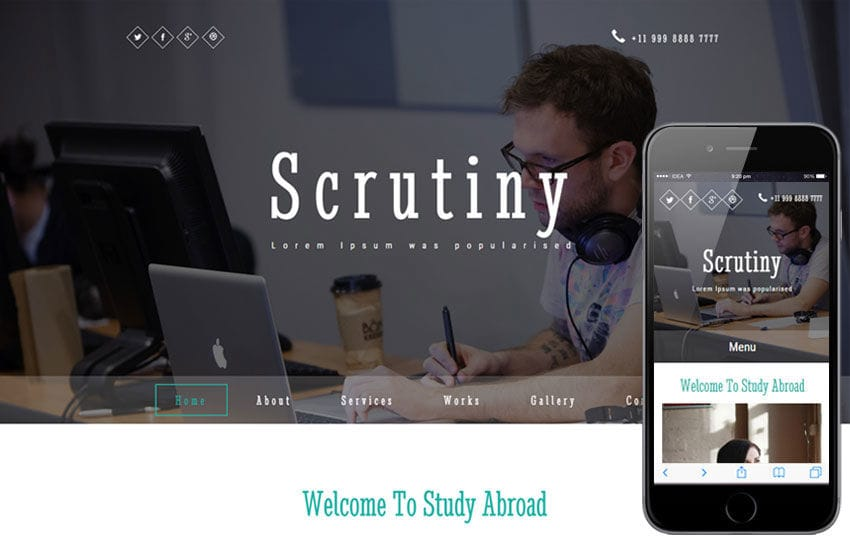 Scrutiny a Education Category Responsive Web Template Mobile website template Free
