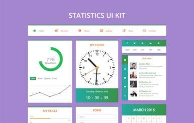 Statistics UI Kit Flat Bootstrap Responsive Web Template