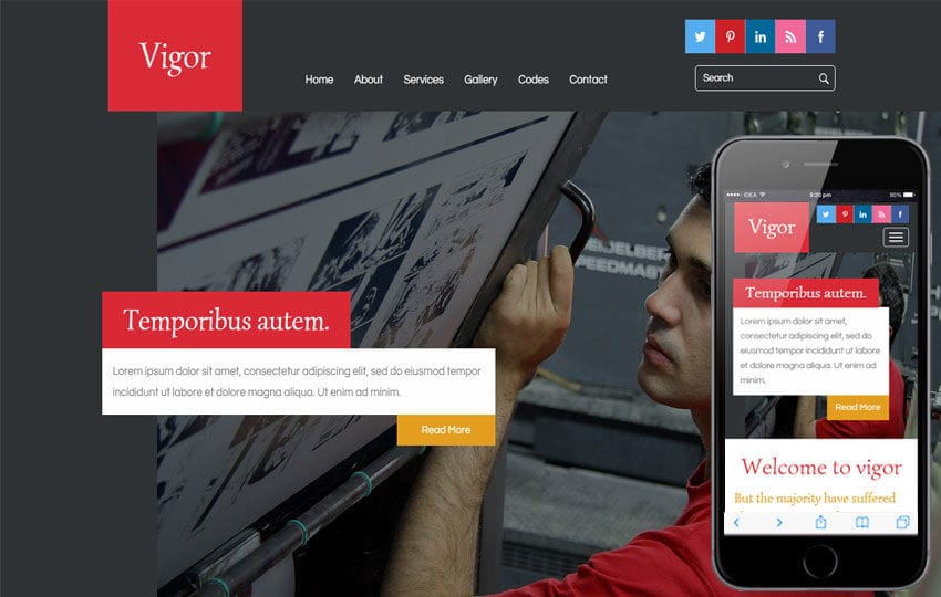 Vigor A Industrial  Flat Bootstrap Responsive Web Template Mobile website template Free