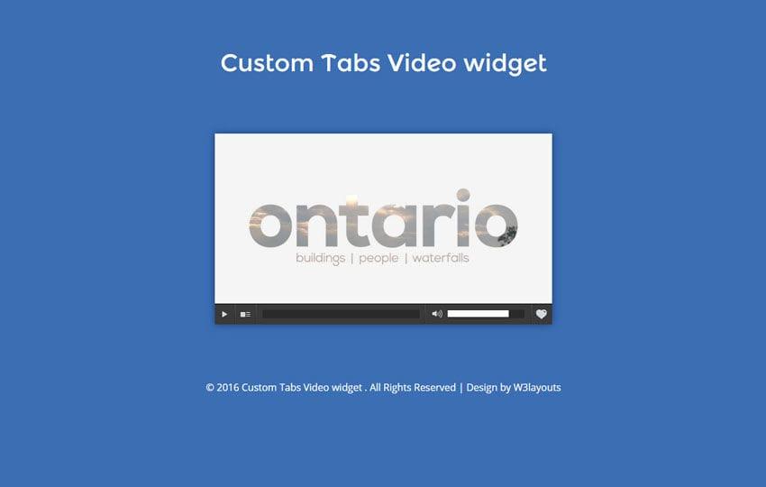 Custom Tabs Video widget Flat Responsive Widget Template Mobile website template Free