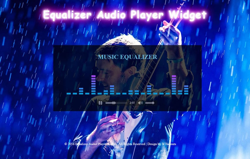 Equalizer Audio Player Widget Mobile website template Free